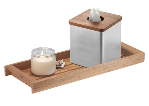 2. iDesign Formbu Wood Toilet Tank Top Storage Tray Wooden Organizer for Tissues