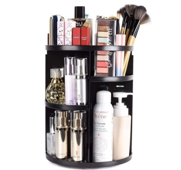 3. sanipoe 360 Rotating Makeup Organizer, DIY Adjustable Makeup Carousel Spinning Holder Storage Rack
