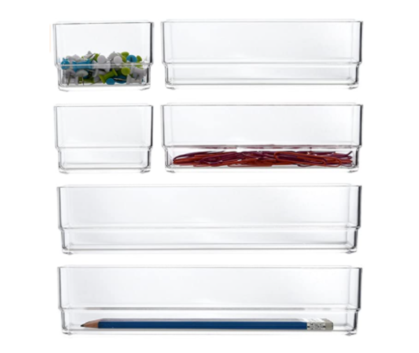 5. STORi Clear Plastic Vanity and Desk Drawer Organizers