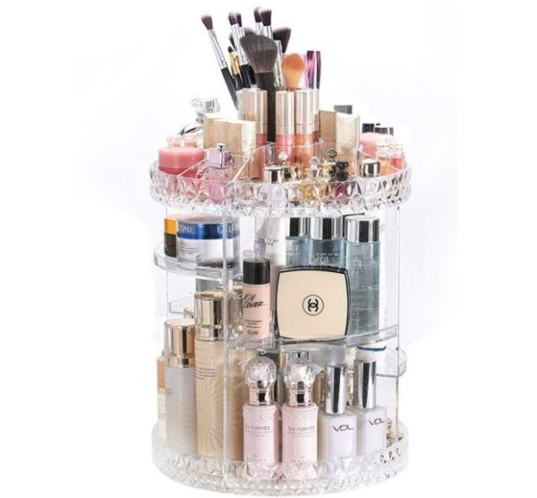 7. DreamGenius Makeup Organizer 360-Degree Rotating Adjustable Multi-Function Acrylic Cosmetic Storage