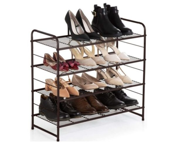 8. Auledio 4-Tier Shoe Rack,Stackable and Adjustable Multi-Function Wire Grid Shoe Organizer Storage