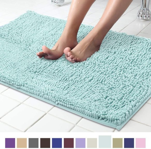 8. ITSOFT Non Slip Shaggy Chenille Soft Microfibers Bath Mat for Bathroom Rug Water Absorbent Carpet