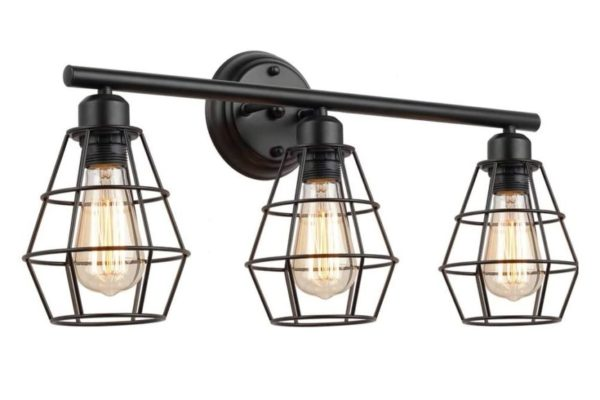 8. KOONTING 3-Light Industrial Bathroom Vanity Light