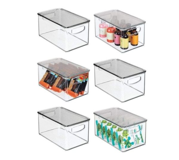 9. mDesign Plastic Stackable Kitchen Pantry Cabinet