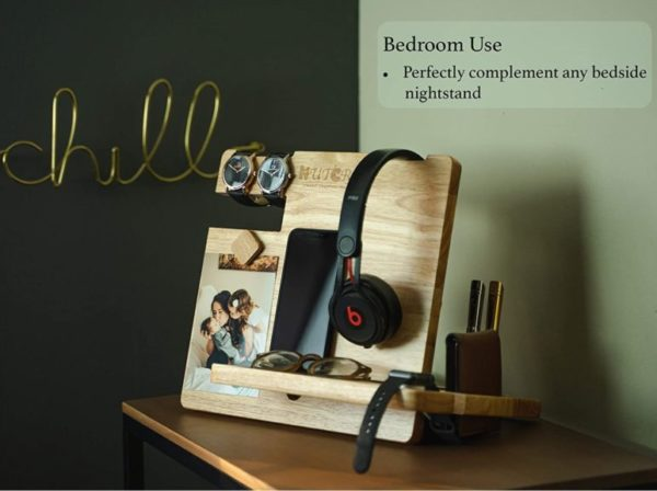 WUTCRFT - Wood Docking Station,Nightstand Organizer with Headphone Stand